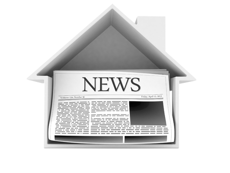 Newspaper inside house cross-section isolated on white background. 3d illustration