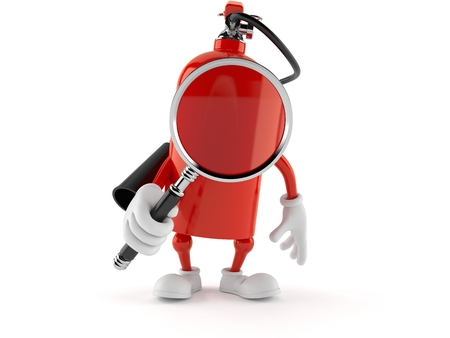 Fire extinguisher character holding magnifying glass isolated on white background. 3d illustration