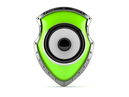Protective shield with sound speaker isolated on white background. 3d illustration