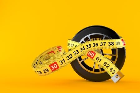 Car wheel with centimeter isolated on orange background. 3d illustration Stock Photo