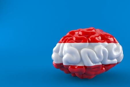 Brain with austrian flag isolated on blue background. 3d illustration Stockfoto