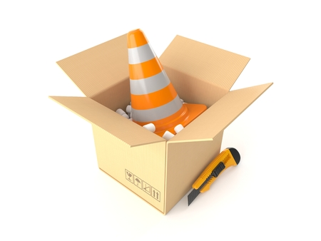 Traffic cone inside package isolated on white background. 3d illustration