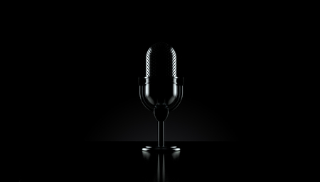 Radio microphone on black background. 3d illustration Reklamní fotografie