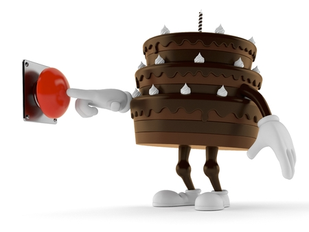 Cake character pushing button isolated on white background. 3d illustration Stock Photo