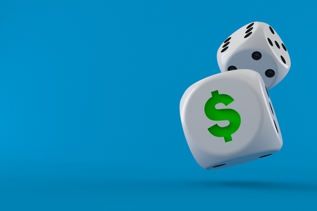 Dice with dollar symbol isolated on blue background. 3d illustration