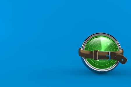 Radar squeezed by belt isolated on blue background. 3d illustration Imagens