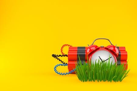 Time bomb on grass isolated on orange background. 3d illustration