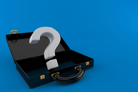 Question mark inside black briefcase isolated on blue background. 3d illustration