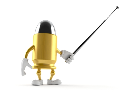 Bullet character with pointer stick isolated on white background. 3d illustration