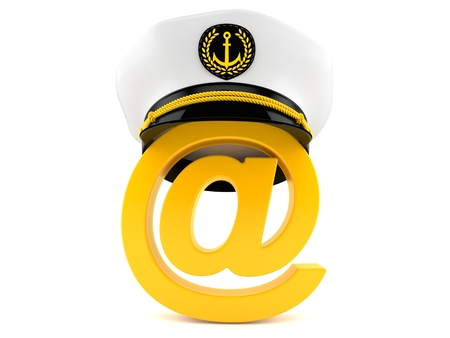 E-mail symbol with captains hat isolated on white background. 3d  illustration fd663860eec4