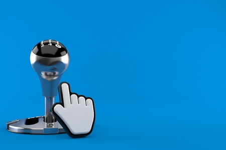 Gearshift with web cursor isolated on blue background. 3d illustration Stock Photo