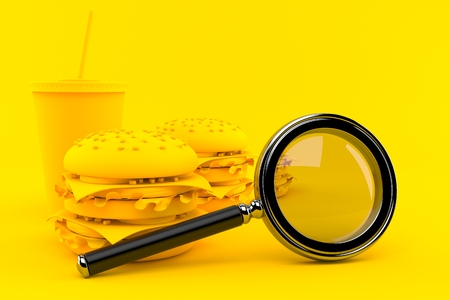 Fast food background with magnifying glass in orange color. 3d illustration