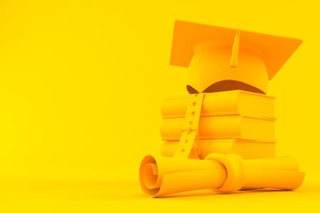 Education background. 3d illustration in orange color. 3d illustration
