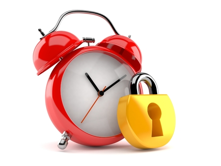 Alarm clock with padlock isolated on white background. 3d illustration