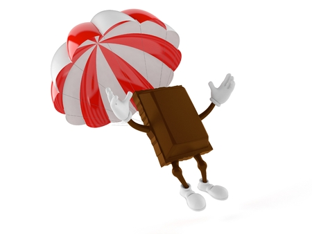 Chocolate character with parachute isolated on white background. 3d illustration