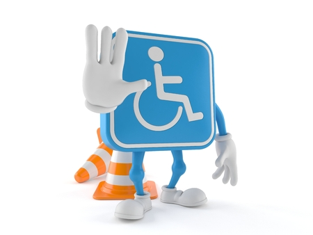 Handicapped character with stop gesture isolated on white background. 3d illustration