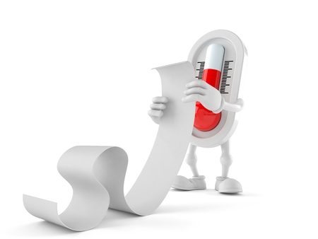 Thermometer character reading a long list isolated on white background. 3d illustration Stock Photo