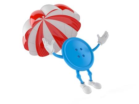 Button character with parachute isolated on white background. 3d illustration Stock Photo