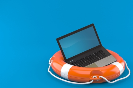 Laptop with buoy isolated on blue background. 3d illustration