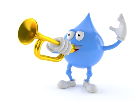 Water drop character playing the trumpet isolated on white background. 3d illustration