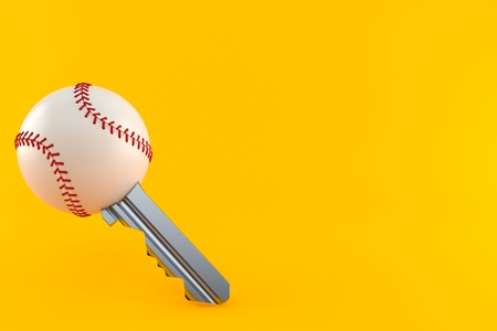 Baseball ball key isolated on orange background. 3d illustration 写真素材