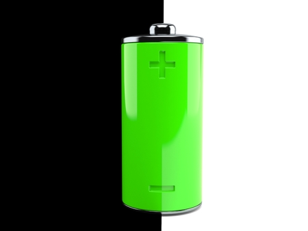 Green battery isolated on black and white background. 3d illustration Imagens