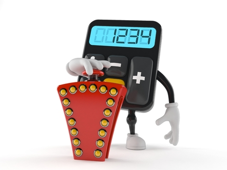Calculator character pushing quiz button isolated on white background. 3d illustration