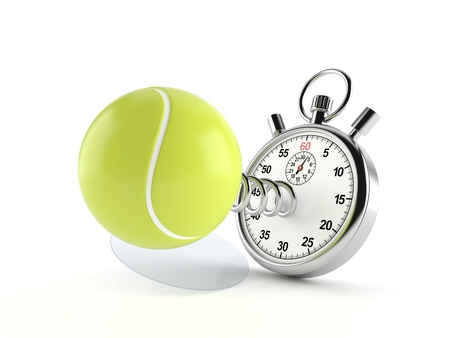 Tennis ball with stopwatch isolated on white background. 3d illustration Imagens