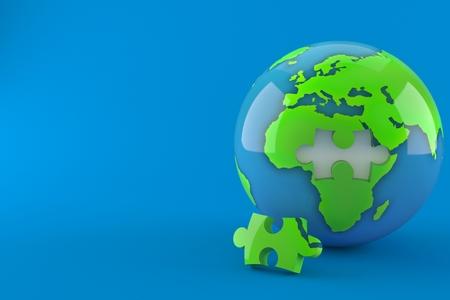 World globe with jigsaw puzzle isolated on blue background. 3d illustration