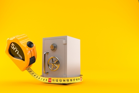 Safe with measuring tape isolated on orange background. 3d illustration