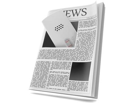 Pregnancy test inside newspaper isolated on white background. 3d illustration