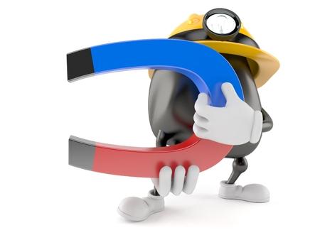 Miner character holding horseshoe magnet isolated on white background. 3d illustration