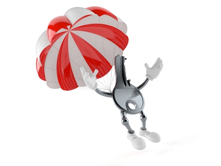 Door key character with parachute isolated on white background. 3d illustration