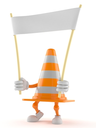 Traffic cone character holding blank banner isolated on white background. 3d illustration