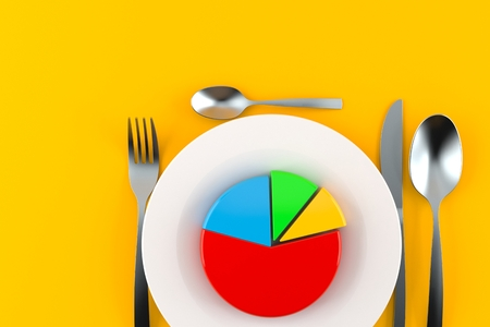 Meal with pie chart isolated on gray background. 3d illustration