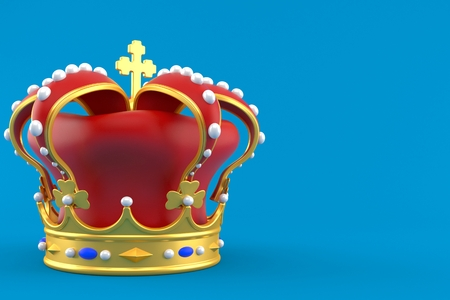 Crown isolated on blue background. 3d illustration