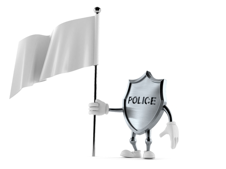 Police badge character with blank flag isolated on white background. 3d illustration