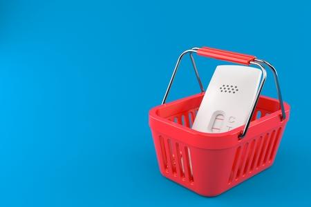 Pregnancy test inside shopping basket isolated on blue background. 3d illustration Stock Photo