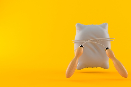 Pillow with jumping rope isolated on orange background. 3d illustration