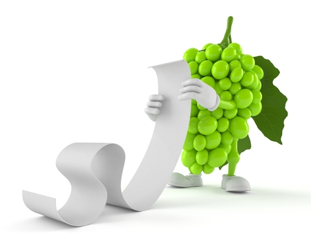 Grapes character reading a long list isolated on white background. 3d illustration