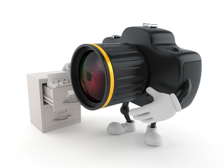 Camera character with archive isolated on white background. 3d illustration Archivio Fotografico - 118087245
