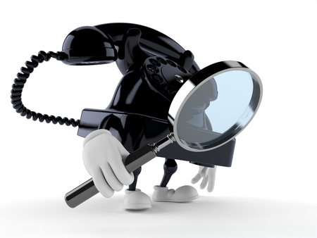Telephone character looking through magnifying glass isolated on white background. 3d illustration