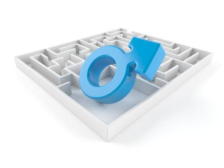 Male gender inside maze isolated on white background. 3d illustration