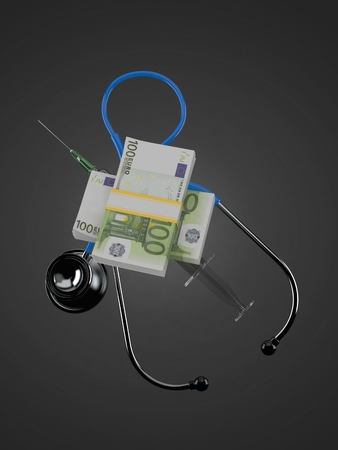 Euro currency with stethoscope and syringe on gray background. 3d illustration