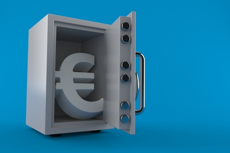 Safe with euro symbol isolated on blue background. 3d illustration Stok Fotoğraf