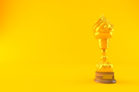 Ice cream golden trophy isolated on orange background. 3d illustration