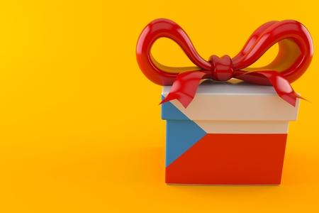 Gift with czech flag isolated on orange background. 3d illustration Stock Photo