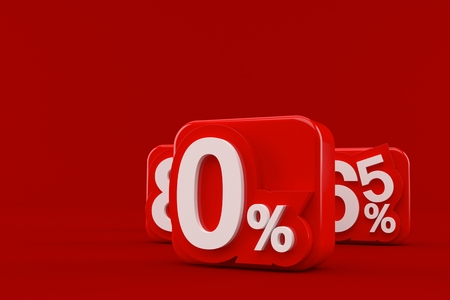 Zero rate concept isolated on red background. 3d illustration