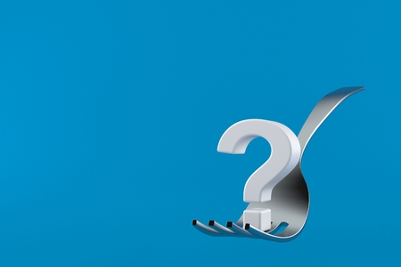 Fork with question mark isolated on blue background. 3d illustration