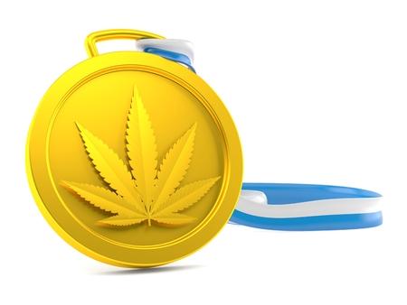 Cannabis leaf medal isolated on white background. 3d illustration Stock Illustration - 118422256